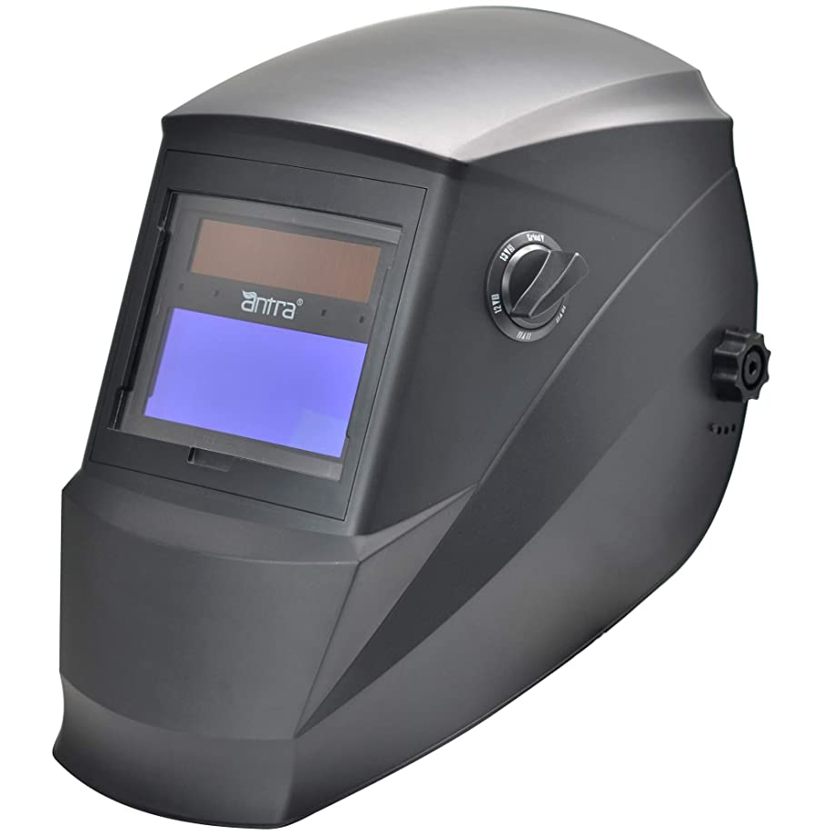 Antra Welding Helmet AH6-260-0000 Solar Power Auto Darkening Wide Shade Range 4/5-9/9-13 with Grinding 6+1 Extra lens covers Stable for TIG MIG MMA Plasma