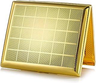 Portasigarette in metallo dorato per 20 sigarette, in acciaio inox anticato, con incisione, aspetto elegante e qualità spe...