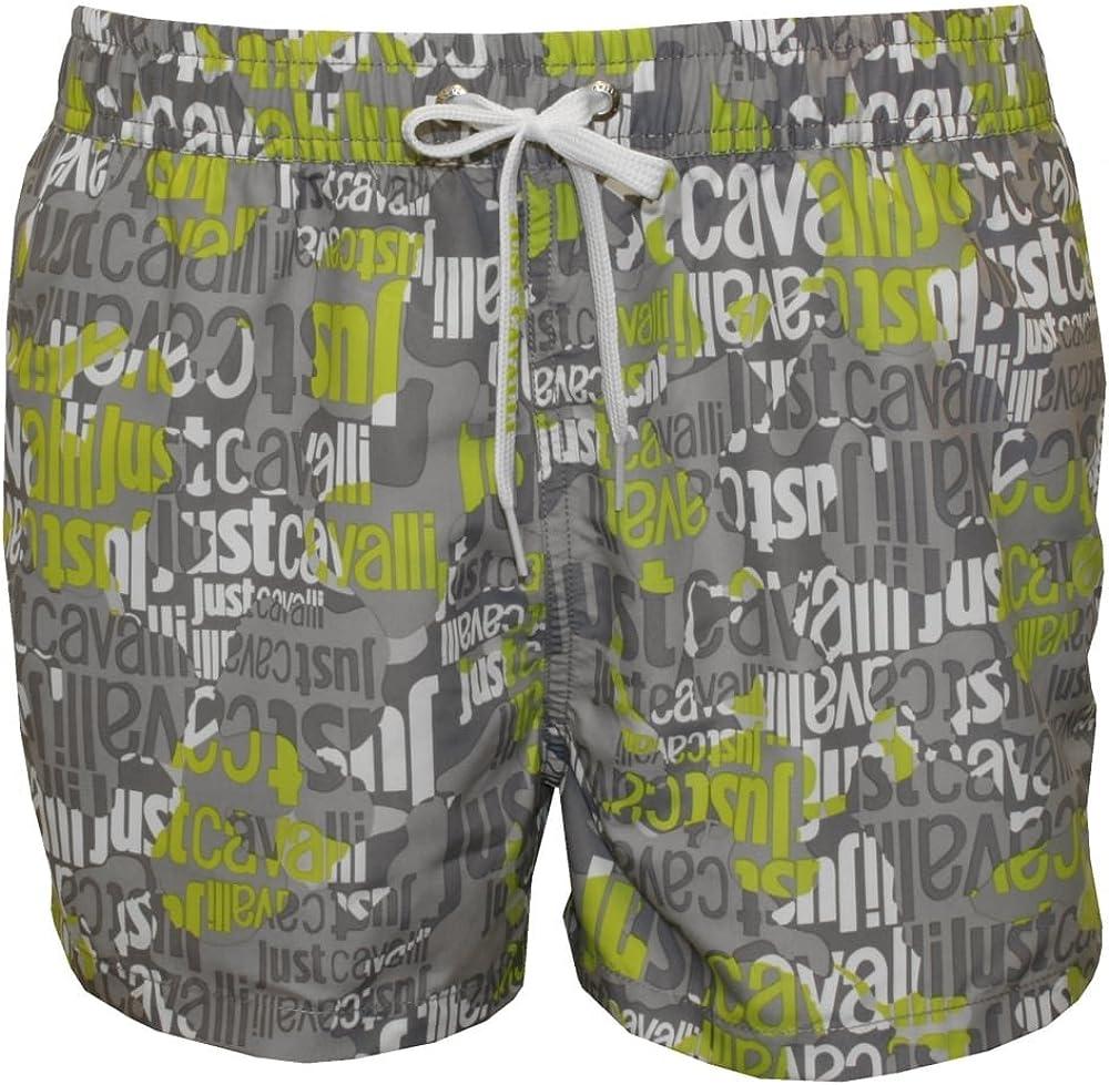 Superlatite Just Cavalli All Over outlet Logo Shorts Grey Swimming Lime Men's