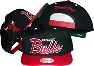 Chicago Bulls Script Black/Red Two Tone Snapback Adjustable Plastic Snap Back Hat / Cap