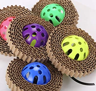 Perks 4 Paws - 3 Pack - Chewable Cardboard Scratcher Pet Toy with Plastic Bell Ball for Play & Exercise