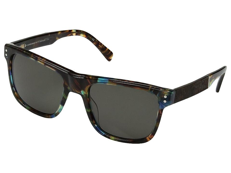 Shwood Monroe (Blue Opal/Elm Burl/G15) Athletic Performance Sport Sunglasses