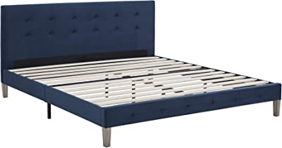 Classic Brands Seattle Modern Tufted Upholstered Platform Bed | Headboard Frame with Wood Slat Support, King, Antonio Sapphire