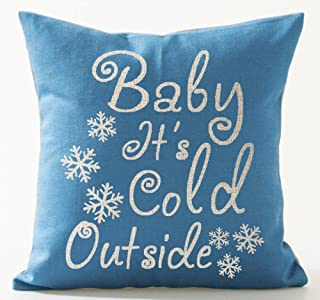 Season's Blessing Baby It's Cold Outside Snowflake Blue Background Merry Christmas Gifts Cotton Linen Throw Pillow Case Cu...