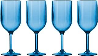 Drinique VIN-WG-BLU-4 Stemmed Wine Glass Unbreakable Tritan Stemware, 12 oz (Set of 4), Blue