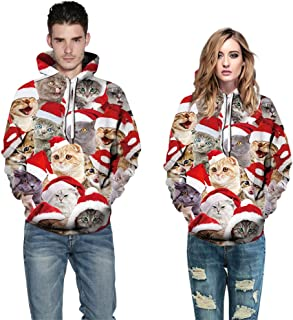 Unisex Ugly Christmas Halloween Hooded Sweatshirt Novelty 3D Graphic Long Sleeve Hoodies Sweater Shirt