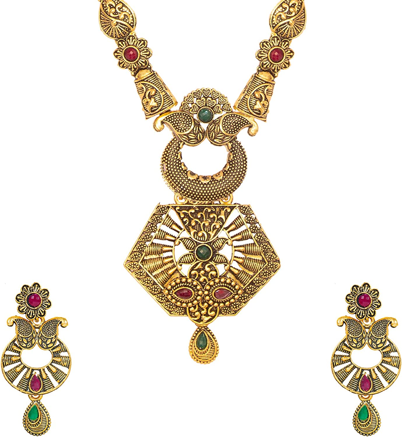 Bodha Traditional Antique Gold Plated Designer Stylish Traditional Long Bridal Jewellery Necklace Set for Women (SJ_2953)