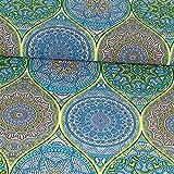 Dekostoff Mandalas türkis Canvasstoffe Dekorationen