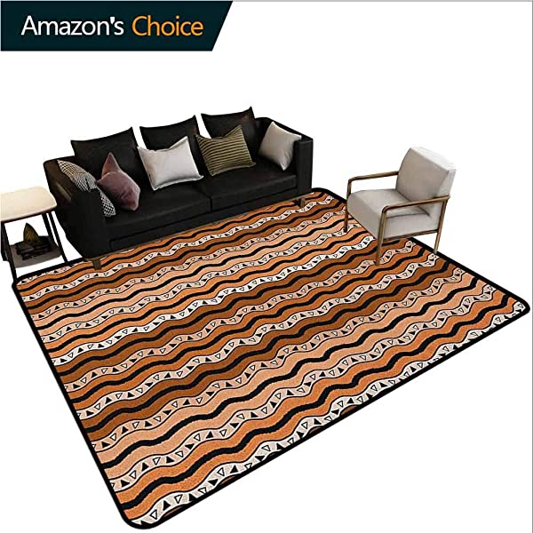 YucouHome Zambia Patchwork Runner Rugs Tribal Pattern With Wavy Lines Geometric Triangles Kenyan Art Design Durable Rugs Living Dinning Office Rooms Bedrrom Hallway Carpet 6 X 9