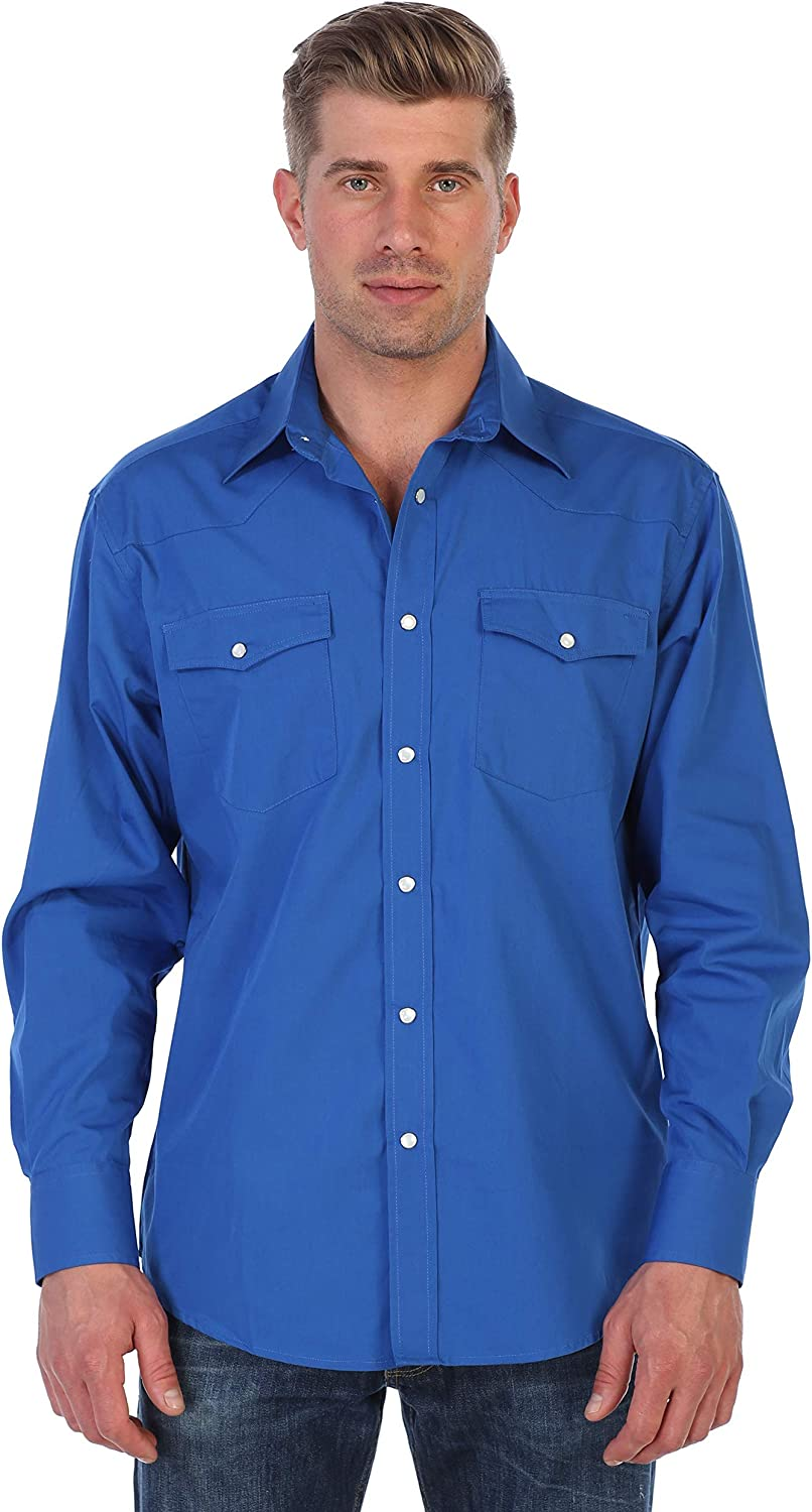 Gioberti Men's Solid Long Sleeve Western Shirt with Pearl Snap-on Buttons