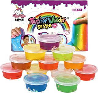 Fluffy Slime Party Favor, 12 Pack Slime Kit for Girls & Boys, Super Soft, Fluffy, Stretchy & Non-Sticky Slime Putty, Squishy Slime Toy, Jumbo Pack, Rainbow Color Slimes Putty. Prizes for Kids.