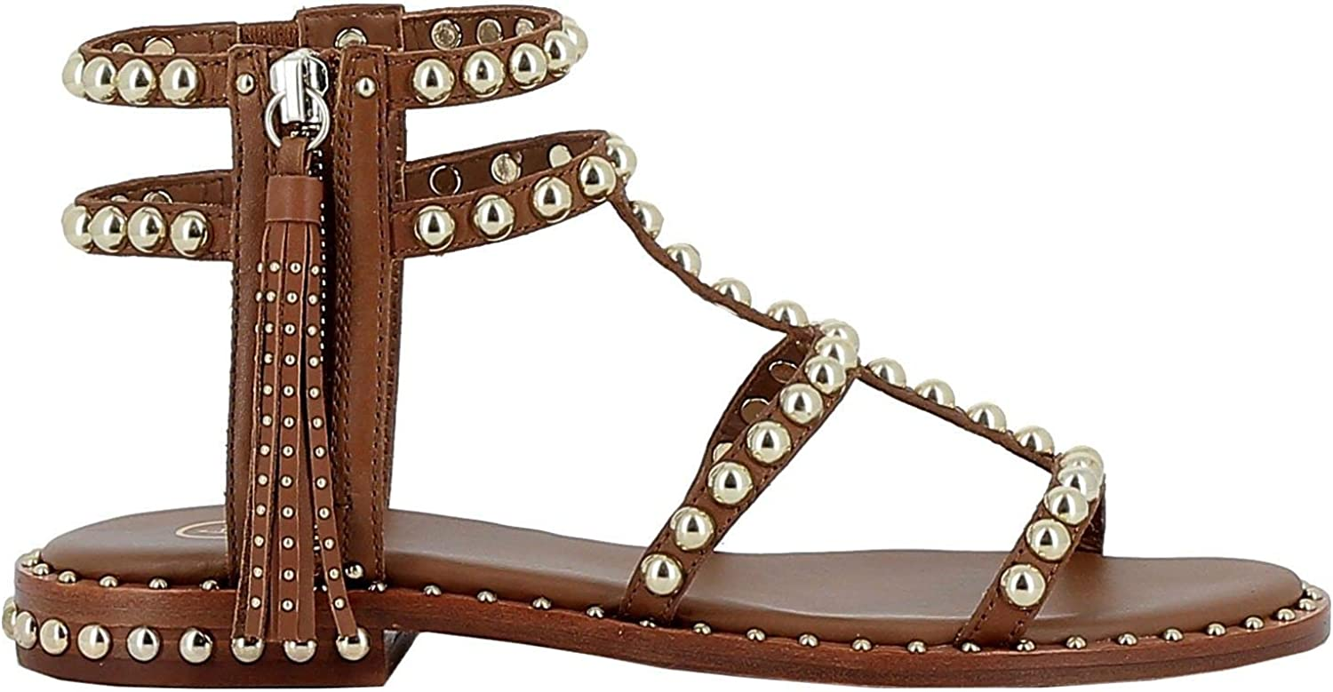 Ash Women's POWER01BROWN Brown Leather Sandals