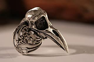 Adjustable Filigree Raven Ring Bird Skull Ring made in NYC Blue Bayer Design