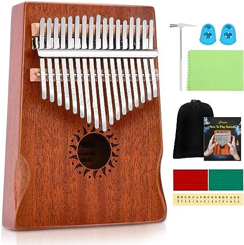 Donner Kalimba 17 Teclas Thumb Piano Marimba Instrumento Musical Portátil con martillo de afinación, Madera de Caoba ...