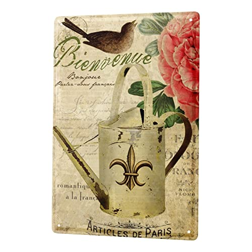 Tin Sign World Trip France Paris nostalgia watering flower bird Decorative Wall Plate 8X12""