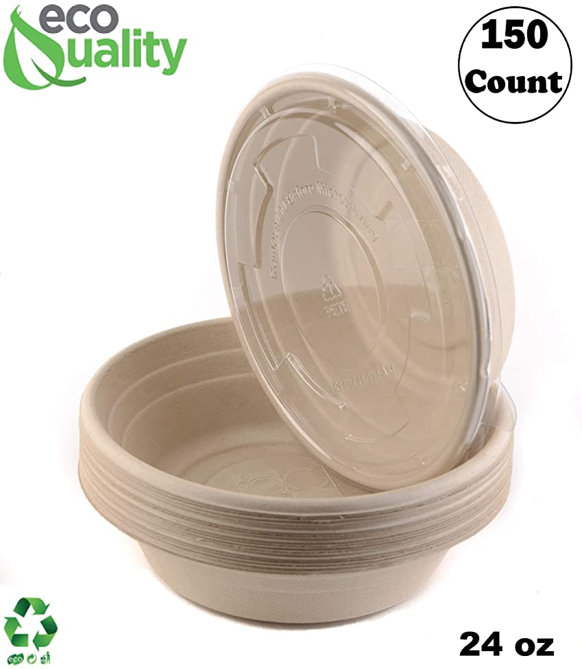 150 Count - EcoQuality 24oz Round Disposable Bowls with Lids Natural Sugarcane Bagasse Bamboo Fibers Sturdy Compostable Eco Friendly Environmental Paper Plastic Bowl Alternative Tree Free
