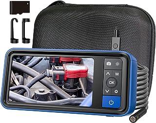 ファイバースコープ デュアルレンズ 4.5インチ1080PHD IPSカラーディスプレイ 8mmレンズ 画像、録画可能 32 Gメモリーカード 6つLEDライト付き 内視鏡カメラ IP67 半剛性ケーブル 工業用内視鏡 車/設備の点検用カメラ ...
