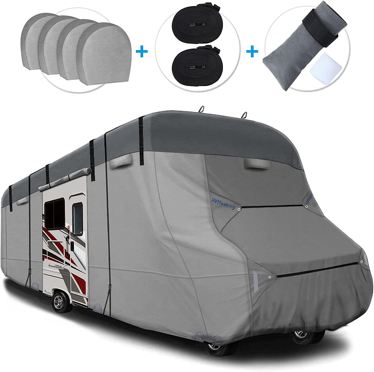 RVMasking 2021 Upgraded 6 Layers Top RV Class C Cover Windproof Camper Cover for 29' - 32' RV with 4 Tire Covers, Gutter Cover - Anti-uv Prevent Top Tearing Due to Sun Exposure