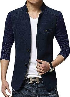 Mancave Men 3 Color Block 3 Button 2 Pocket Turndown Collar Slim Wool Blazer