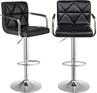 SONGMICS Set of 2 Adjustable Swivel Bar Stool Chairs Counter Stools, Breakfast Chairs with Arms and Back, PU, Black