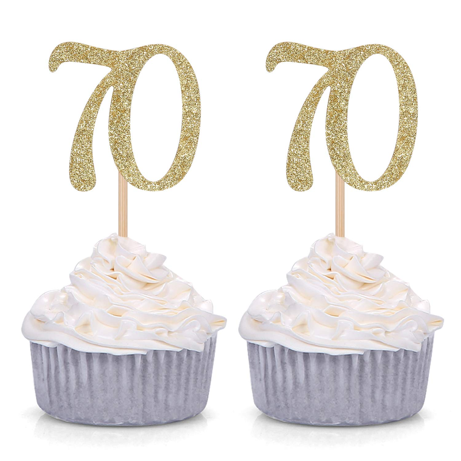 24 X HAPPY BIRTHDAY 70TH COLOURFUL AGE 70 EDIBLE CUPCAKE TOPPERS RICE PAPER C798