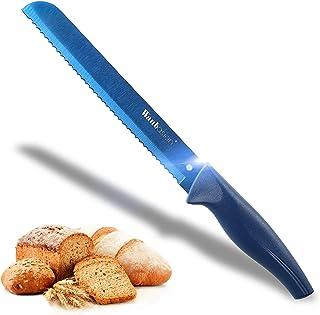 Wanbasion Blau Küche Brotmesser Wellenschliff Edelstahl Dünn, Küche Brotmesser Lange Klinges Schärfer, Profi 20 cm Brotmesser Gross Spülmaschinenfest