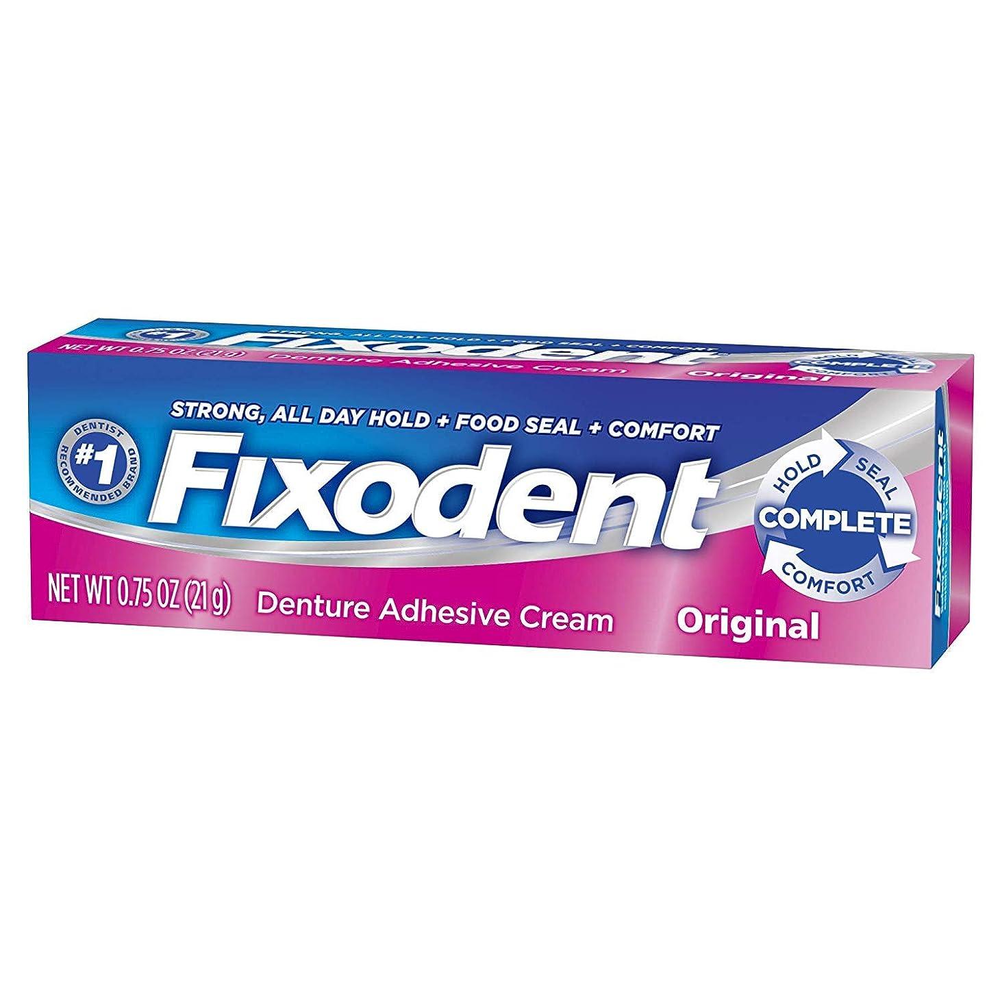 尾ストラップ炭素Fixodent 義歯接着剤クリームオリジナル0.75オンス(2パック)