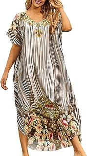 YouKD Vestido Largo de caftán Bohemio Largo para Mujer Bata de Playa Kimono Amplio Talla única Loungewear