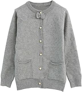 Little Girls Cardigan Long Sleeve Knitted Sweaters with Cute Bow