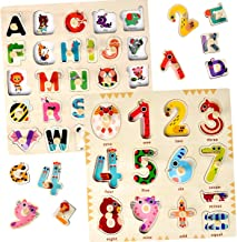 Wooden Puzzles for Toddlers 1 2 3 Year Olds - Kids and Babies Matching Uppercase Alphabet Game for Learning 26 ABC Letters and 123 Numbers - Educational Preschool Toys for Baby Boys Girls Ages 1-3