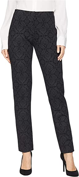 Damask Hidden Elastic Pull-On Printed Ponte Pants