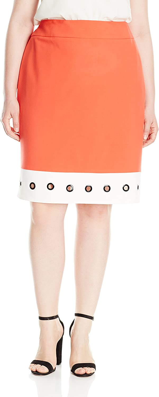 Nine West Womens Plus Size Skirt W White Hem and Grommets Skirt