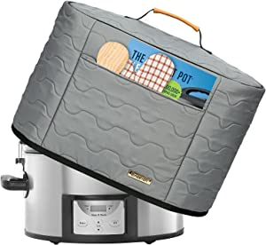 BABEYER Slow Cooker Dust Cover Fits for 6-8 Quart Crock Pot, Inside Full Aluminum Lining Easy to Clean-Grey