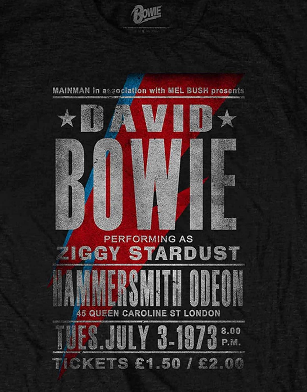David Bowie T Shirt Ziggy Stardust Hammersmith Odeon Flyer Officiel Homme