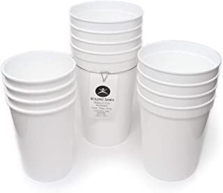 Rolling Sands 12 Pack Reusable Plastic Stadium Cups, Multipack of 3 Cup Sizes - 12oz, 16oz, 22oz – Made in USA, BPA-Free, Dishwasher Safe Plastic Tumblers - Set Includes 4 White Cups of Each Size