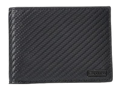 Calvin Klein Slimfold w/ Carbon Fiber Print (Black) Handbags