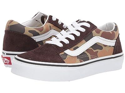 Vans Kids Old Skool (Little Kid/Big Kid) ((Vintage Camo) Chocolate Torte/True White) Boys Shoes