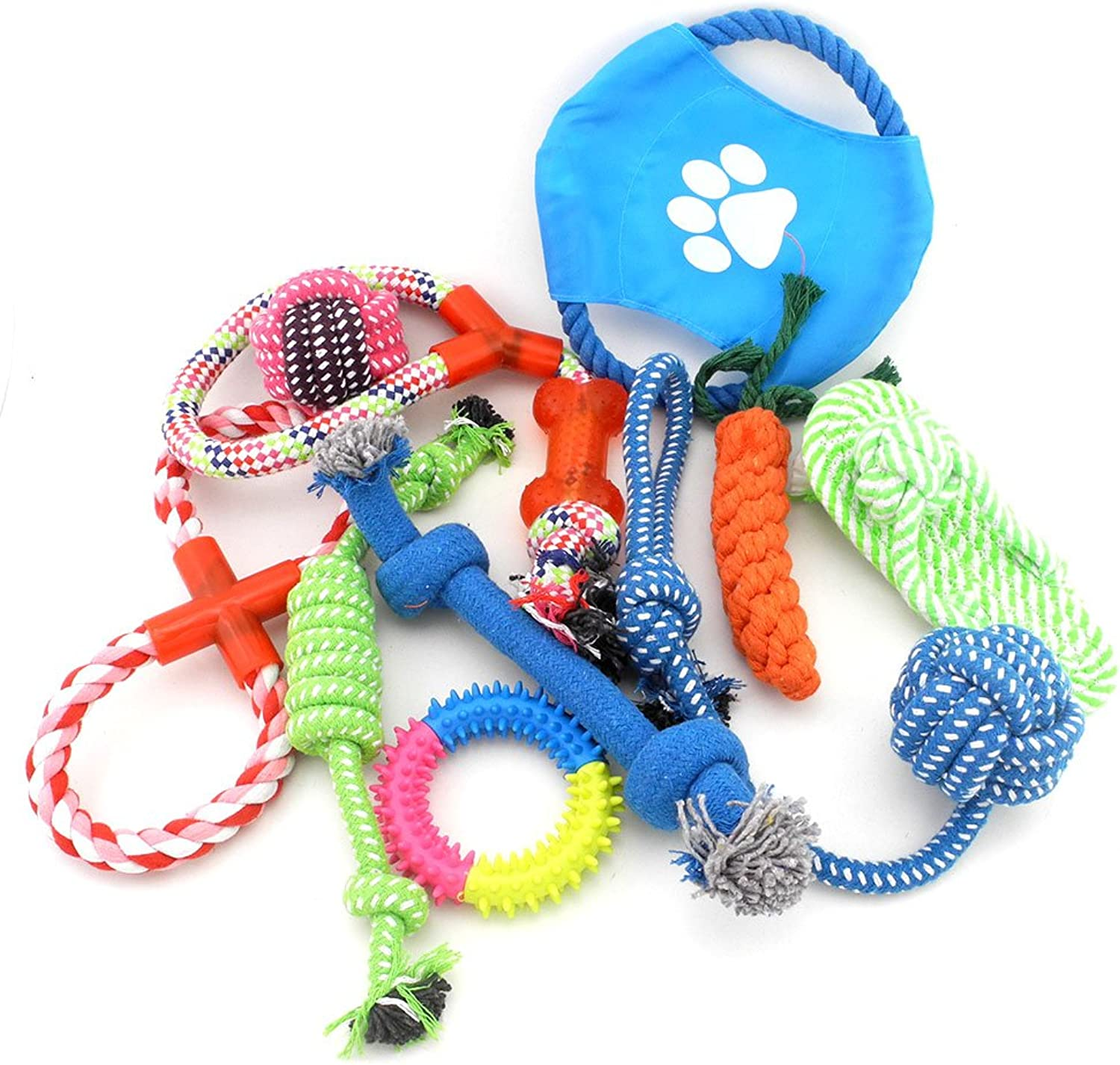 Ranphy Medium Large Dog Toys 10 Pack Gift Set Chew Roy TugoWar Ball Rope Toys on Rope for Aggressive Chewers
