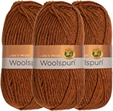Lion Brand (3 Pack) Woolspun Acrylic & Wool Soft Mahogany Brown Yarn for Knitting Crocheting Bulky #5