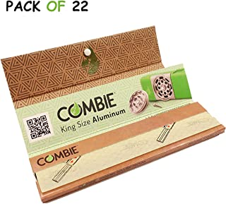 Combie Organic Rolling Paper- 32 King Size Leaves - All Natural Unbleached & Unrefined Better Paper for a Better Rolling Experience with Tips [Pack of 22]