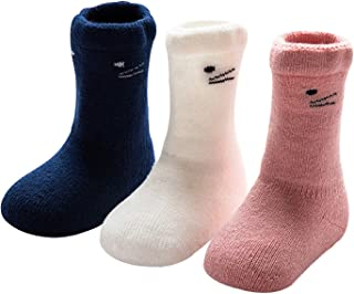 DEBAIJIA, 3 Pares Unisex Calcetines Gruesos para Bebés Calcetines Largos de Algodón Niños de 0-3 años Recién Nacidos Invierno Cálidos Suaves y Cómodos