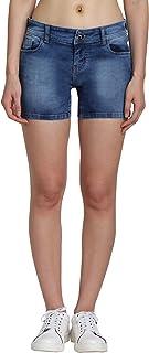 Jump USA Women Blue Washed Skinny Fit Denim Shorts