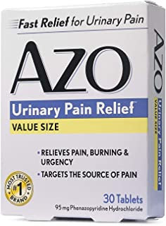 AZO Urinary Pain Relief, Dietary Supplement, Contains 95 mg Phenazopyridine Hydrochloride The #1 Ingredient Prescribed by Doctors Pharmacists Specifically for Urinary Discomfort�, 30 Count