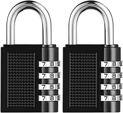 ORIA Combination Lock, 4 Digit Combination Padlock, for Home, Gate, Toolbox, Gym, Sports, School, Employee Locker, Outdoor, Fence, Case, Hasp and Storage, Pack of 2