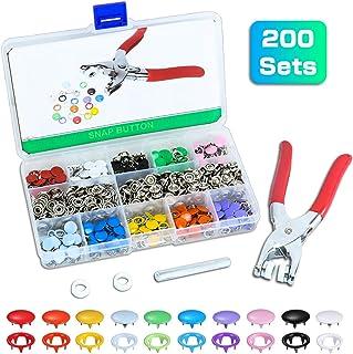 Qfun Snaps Costura T5 con Alicates, Botones de Presion de 10 Colores 200 Botones, Botones para Coser en la Herramienta Hebilla de Diente Kam Snaps para Bricolaje Fabricación