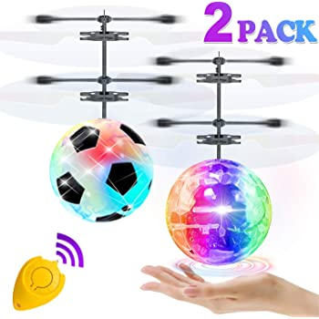 2 Pack Flying Ball Toys, RC Flying Toys for Kids Boys Girls Holiday Birthday Gifts Remote Control Drone Helicopter Rechargeable Light Up Ball Infrared Induction RC Drone Toy Indoor Outdoor Game