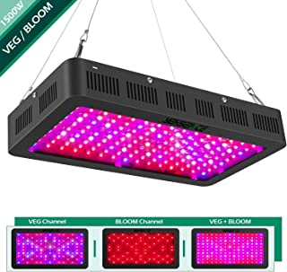 1500 watt LED Grow Light Full Spectrum with Veg/Bloom Channel,Yehsence LED Growing Light Fixtures for Indoor Plants with Daisy Chained Design and Triple-Chips LED (15W LED)