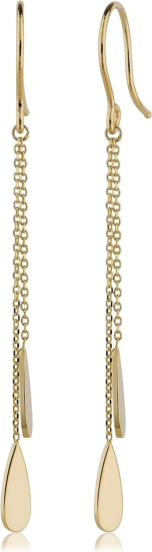 Kooljewelry 14k Yellow Gold Double Teardrop Dangle Earrings, 1.8 inch