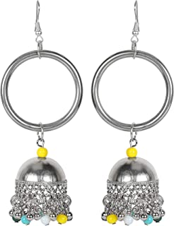 Frolics India - Handmade stylish hanging Antique Oxidized German Silver earrings for girls and Women