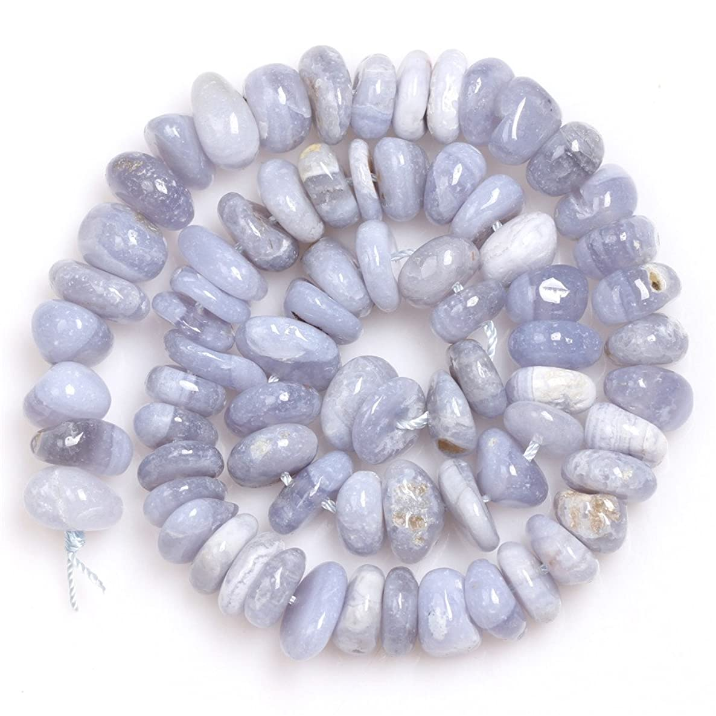 Blue Chalcedony Beads for Jewelry Making Natural Gemstone Semi Precious 3-5x10-12mm Freeform Potato Shape 15